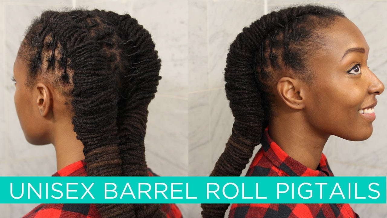loc hairstyle tutorial: unisex barrel roll pigtails