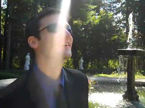 Justin has to pee while standing next to the fountain @ Yaddo