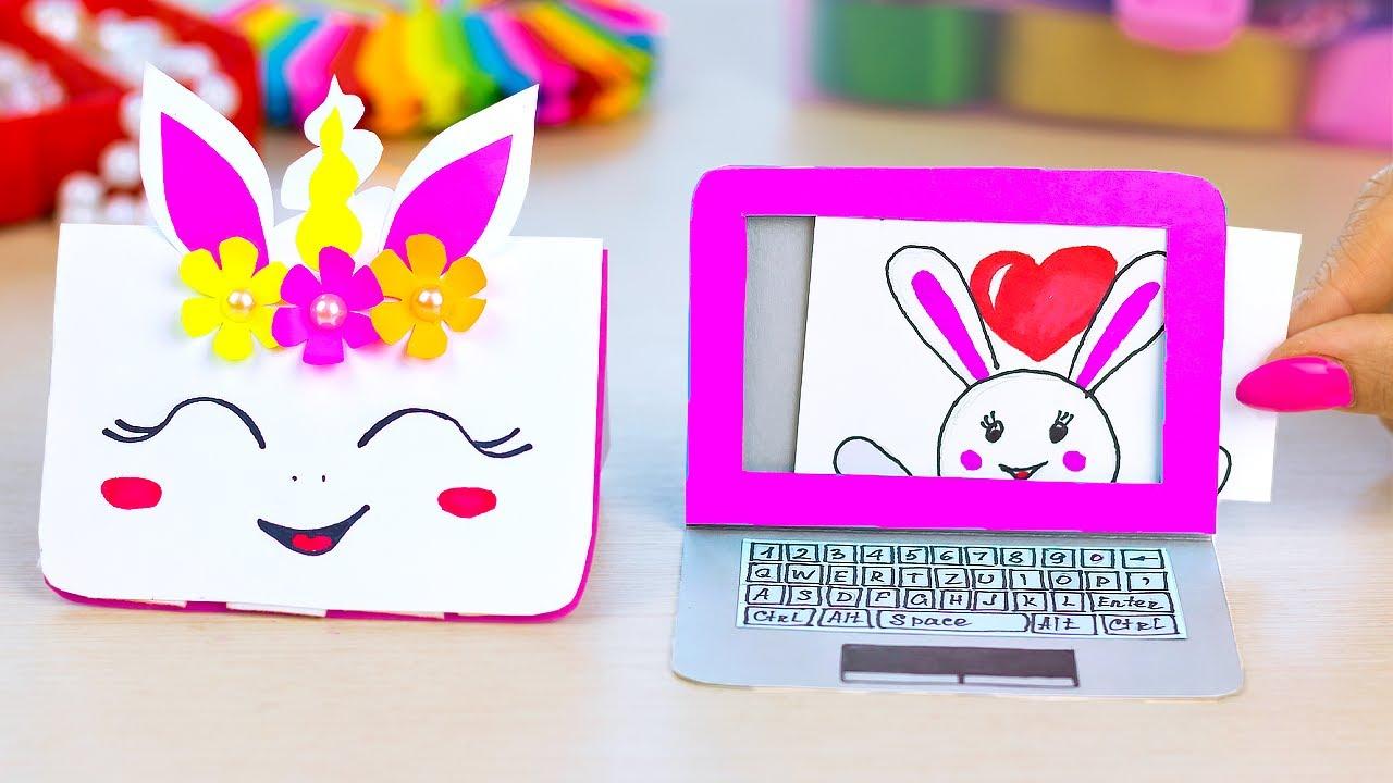 Как сделать бумажный ноутбук | Миниатюрный ноутбук не оригами | Поделки из бумаги