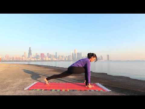 Sun Salutation Surya Namaskar Morning Yoga Practice on Chicago Lakefront