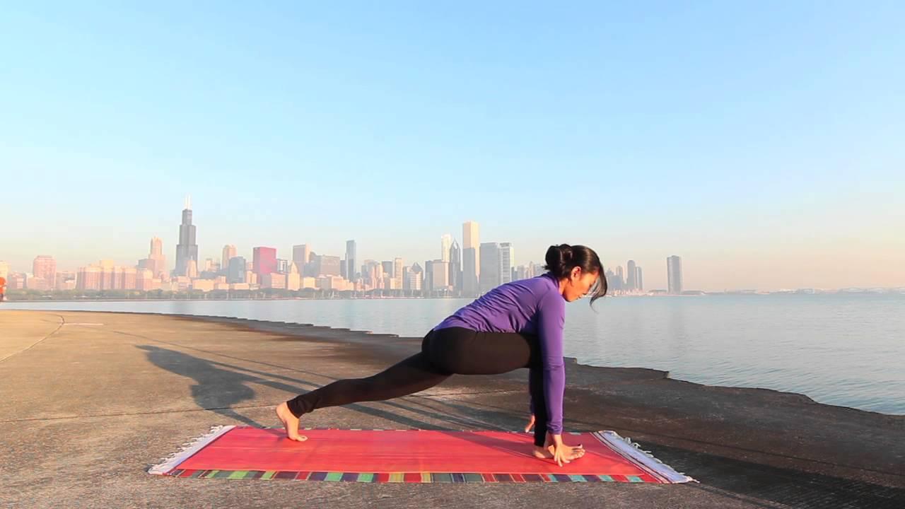 Sun Salutation Surya Namaskar Morning Yoga Practice On Chicago Lakefront