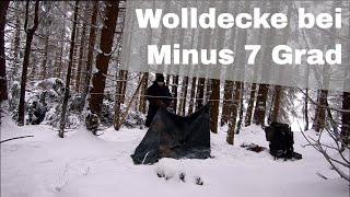 Wolldecke bei Minus 7 Grad und improvisiertes Trapper Bett | Bushcraft Overnighter Tour #7