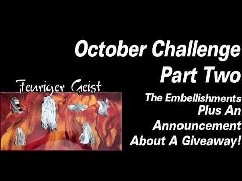 October Challenge Part 2 | Resin Pouring | Resin Tutorial | Embellishing Resin | Resin For Beginners