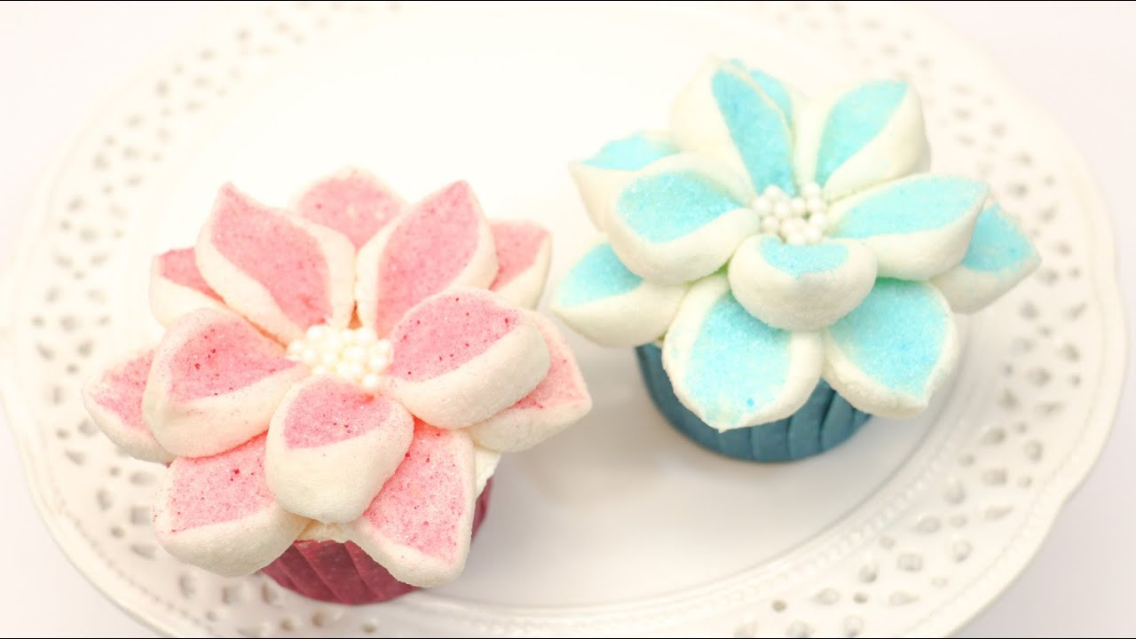 How To Make Marshmallow Flower Cupcakes By Cakesstepbystep Youtube
