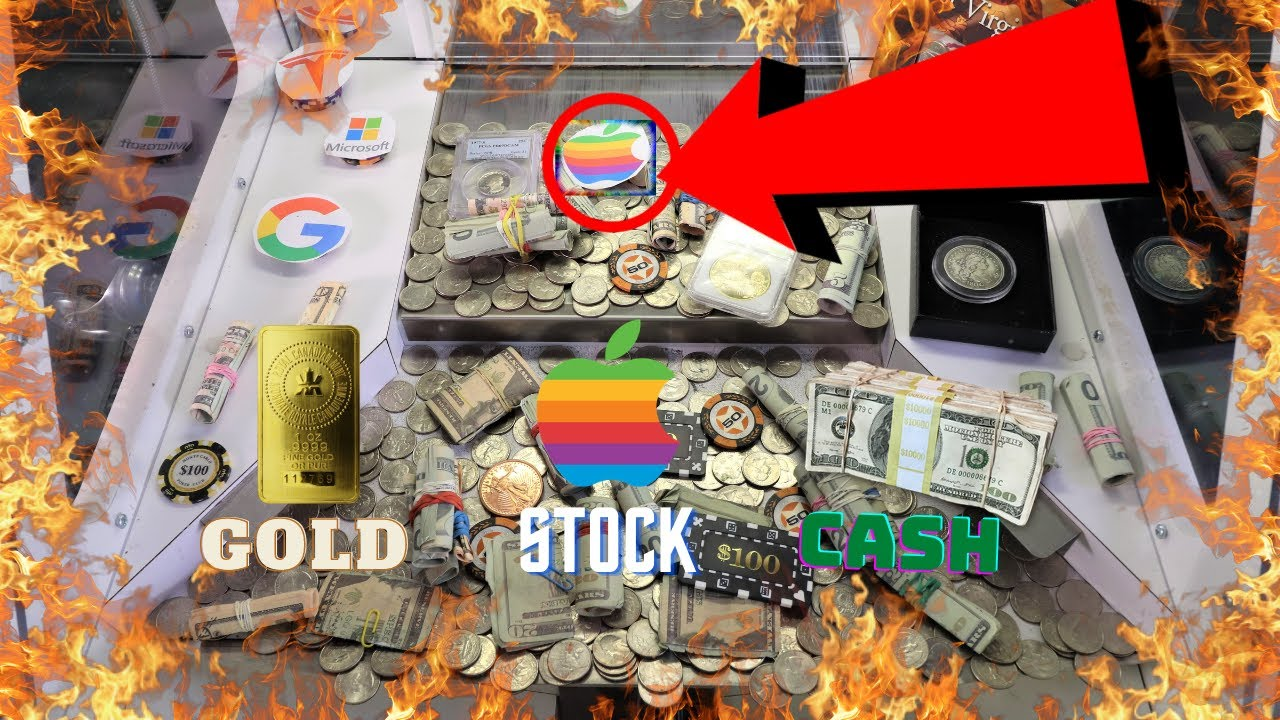 High Risk Coin Pusher Loaded with CASH, Apple Stock, Gold Coins, $1000's in Value