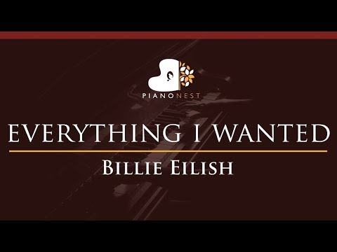 Billie Eilish - Everything I Wanted - HIGHER Key (Piano Karaoke Instrumental)
