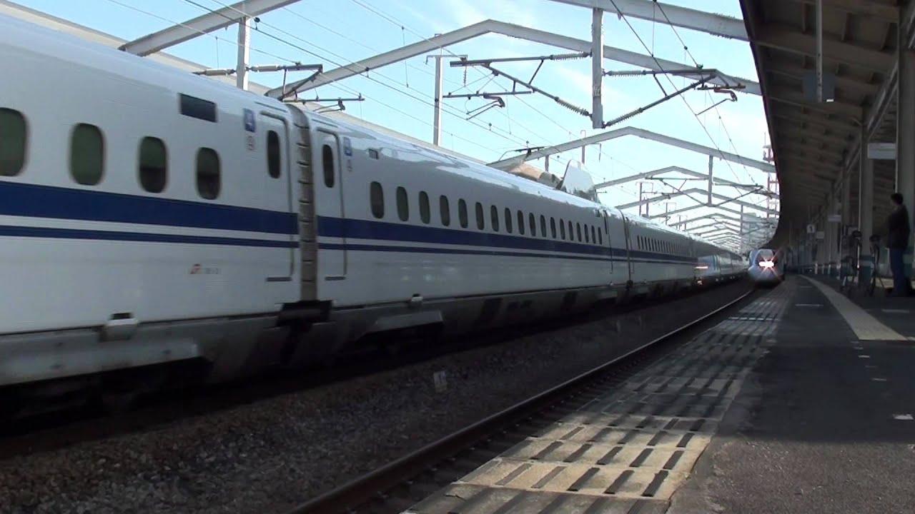 東海道山陽新幹線N700系福山駅通過 - YouTube