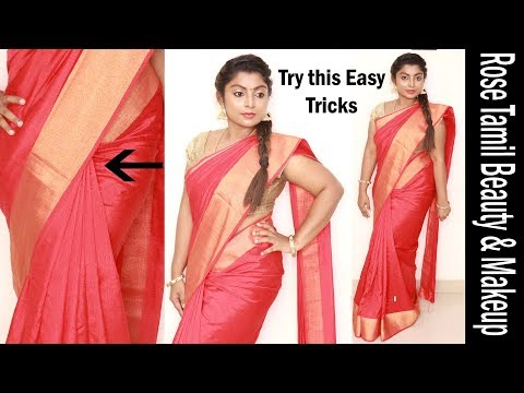 Try this weird trick to get perfect pleats - how to wear saree easily and quickly within 5 minutes - 동영상