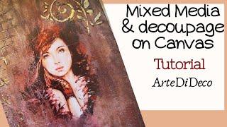 Ντεκουπάζ με χαρτί σε καμβά! Mixed media!Decoupage paper on canvas! ArteDeDeco  [CC]
