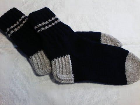 Видео как вязать двойную пятку носка спицами