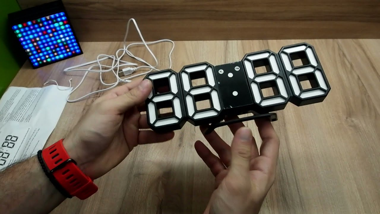 3d Led Digital Wall Clock En8810 Review Youtube