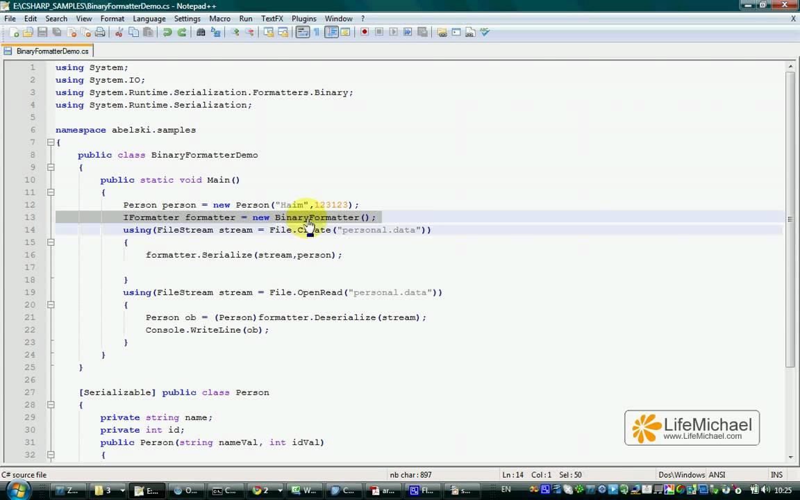 Download C# BinaryFormatter Serialization & Deserialization Demo