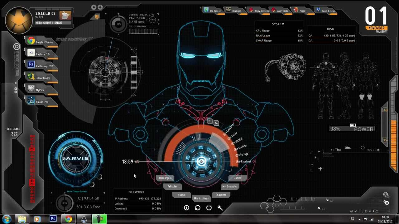Hp Wallpaper Hd 1920x1080 Tutorial Wallpaper Ironman Con Rainmeter El Packs Parte