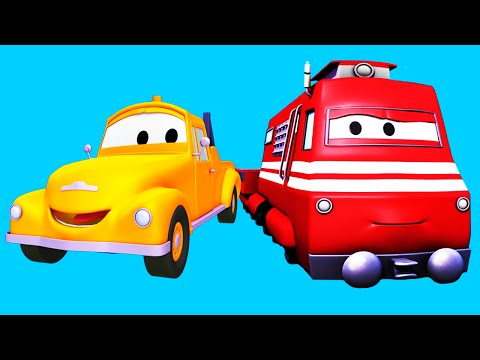 Tom The Tow Truck and Troy The Train with their truck friends in Car City: Crane, Flatbed Truck...