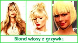 Blond włosy z grzywką