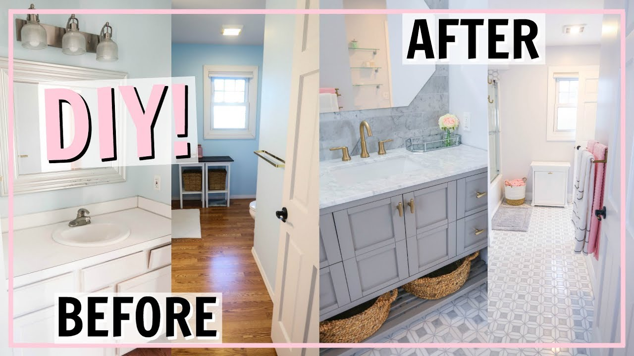 Diy Bathroom Transformation Incredible Before And After Makeover Alexandra Beuter Youtube