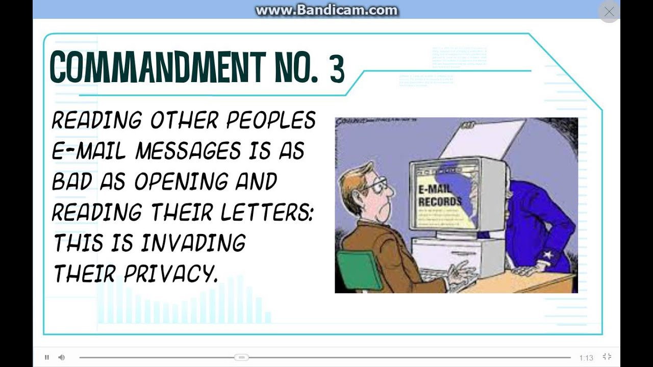 ten commandments of computer ethics essay Commandments in computer ethics - essay example as users and programmers collaborate from around the world it is with the intentions of betterment of the world that 10 commandments of computer ethics thou shalt always use a computer in ways that ensure consideration and respect for your fellow humans meaning 10 commandments of computer ethics.