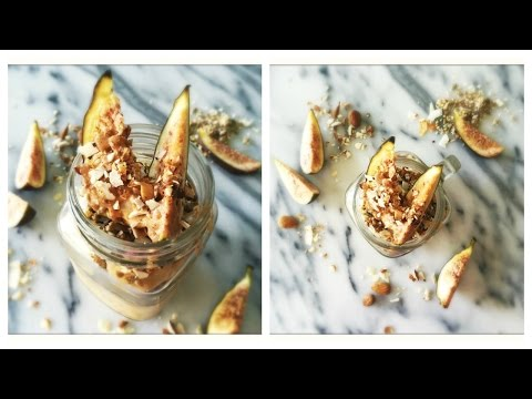 Healthy Breakfast on the go | Fig Almond Butter Overnight Oats