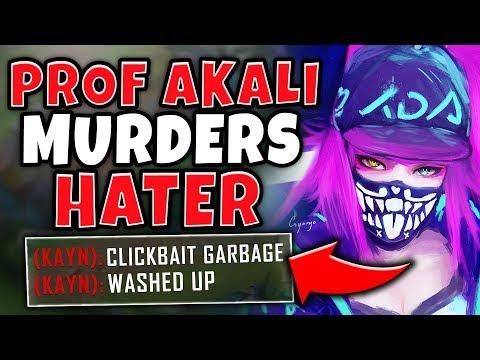 PROFESSOR AKALI VS. HATERS IN HIGH-ELO! INSANE 1 HP AKALI OUTPLAY! - League of Legends thumbnail