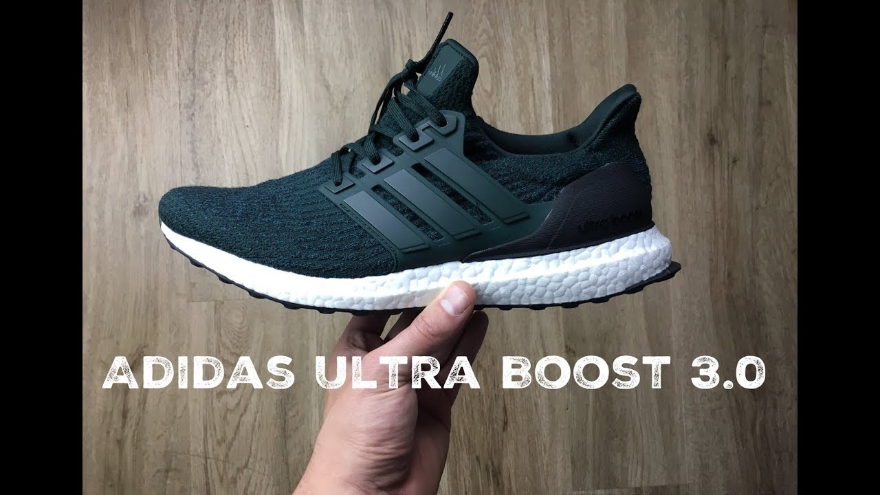40026d25e098c ... norway adidas ultra boost 3.0 dark green core black unboxing on feet  fashion shoes 2017 hd