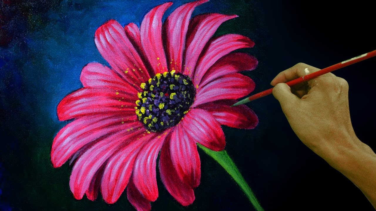 How To Paint A Daisy Flower In Real Time Acrylic Painting Tutorial