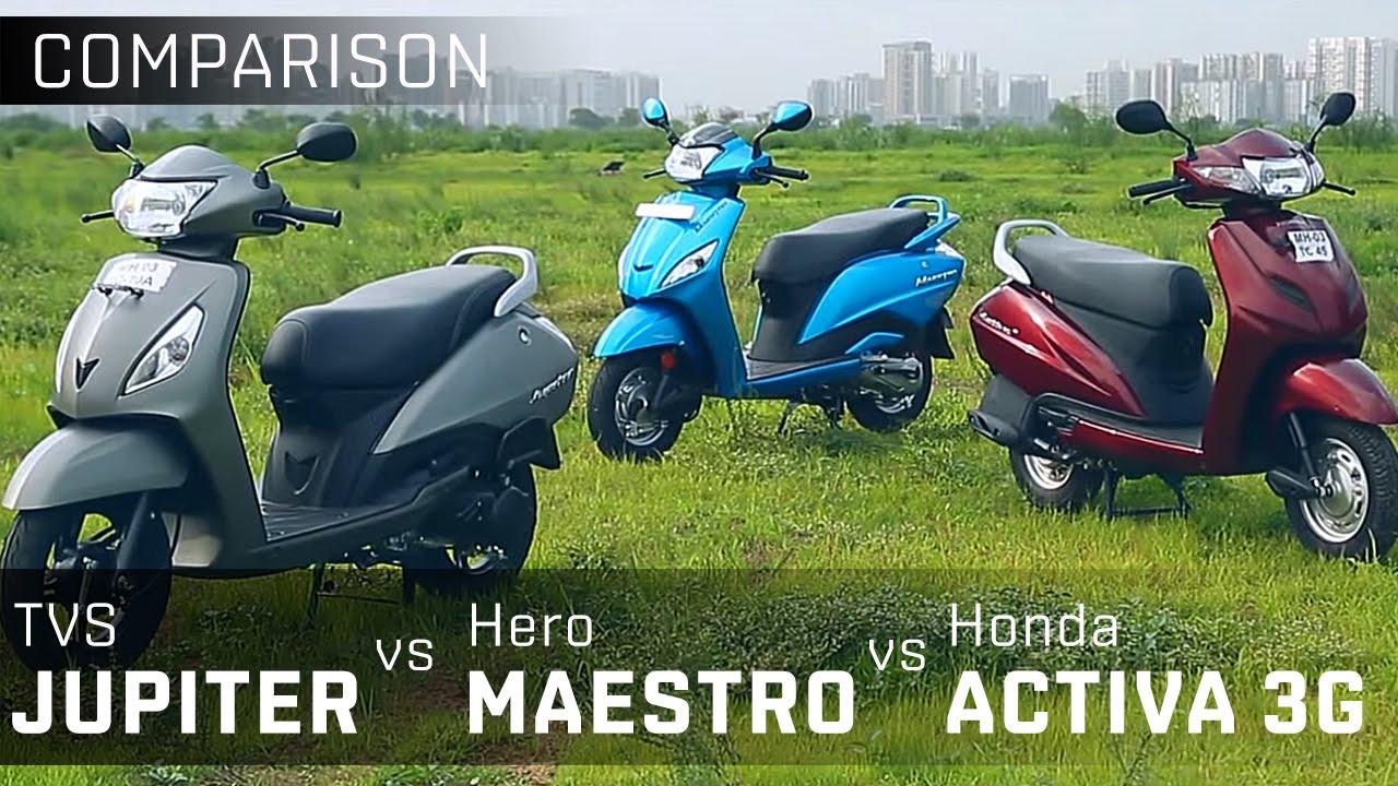 Tvs Jupiter Vs Hero Maestro Vs Activa 3g 110cc Scooter Comparison