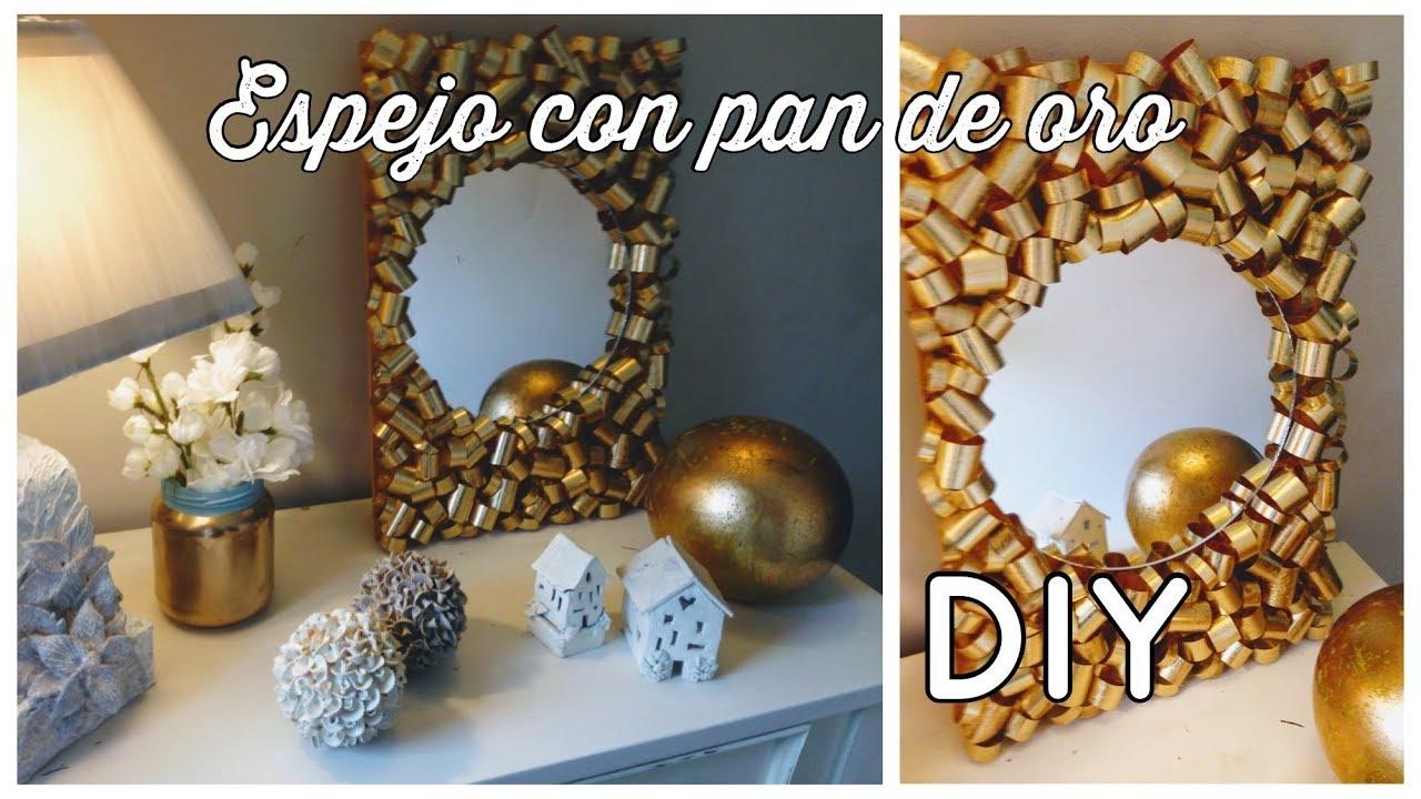 espejo moderno con pan de oro diy precioso como trabajar el pan de oro