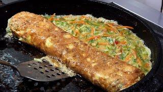 을지로 골목 왕 계란말이 (big egg rolled omelet - gyeranmari 15,000KRW) korean street food / 명동 화산골뱅이