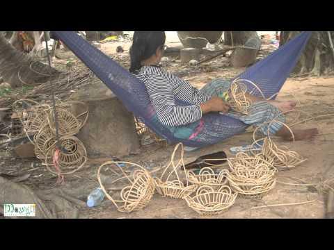 Cambodian Women Making Handicraft From Wood Sticks