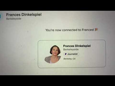 Frances Dinkelspiel Of Berkeleyside Finds Zennie Abraham On Alignable; Her Local Pulitzer Due To Me