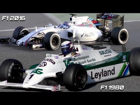 Formula 1 Sound comparison -  F1 2016 V6 Turbo vs F1 1980s V8 N/A