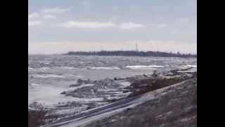 Геническ, Арабатская  стрелка, Азовское море. Зима 2014 года.(Азовское море зимой 2014года. Вид на Арабатскую стрелку с Генического берега. Отдых в Геническе, отдых на..., 2014-02-03T08:17:16.000Z)