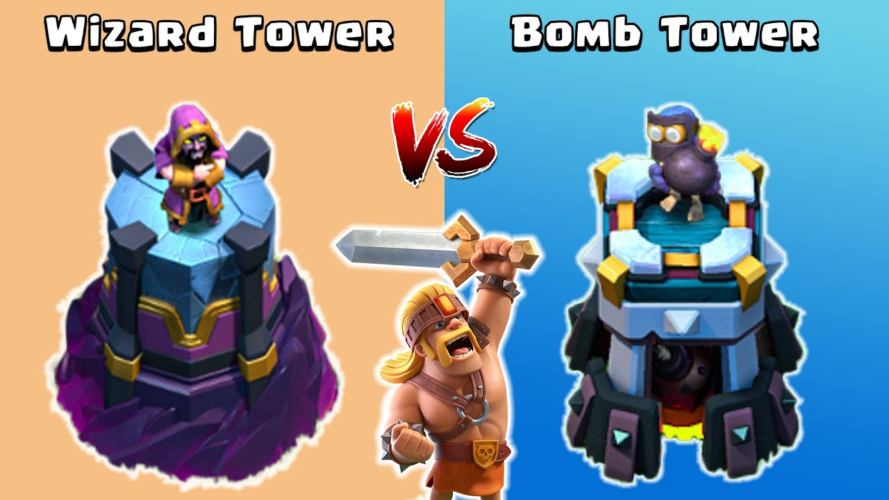 Wizard Tower vs Bomb Tower vs Super Barbarian - Clash of Clans