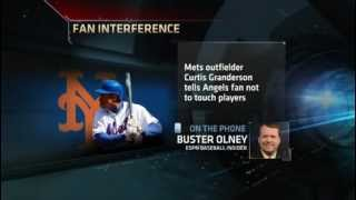 Curtis Granderson of New York Mets touched by fan When Loss to LA Angels