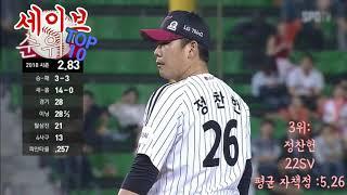 (2018 KBO 리그) 세이브 순위 TOP 10!!😊