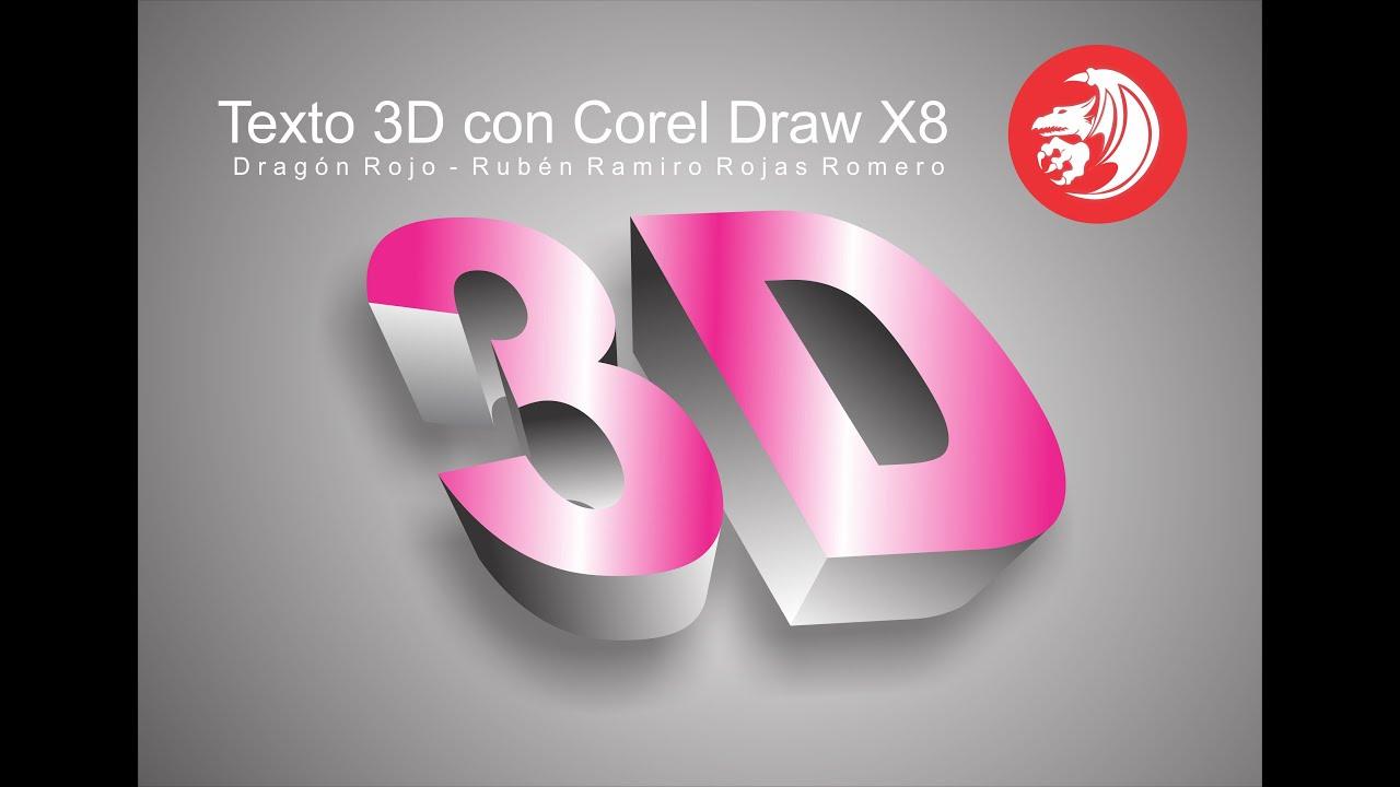 como hacer texto 3d en corel draw x7 x8 de forma f cil youtube. Black Bedroom Furniture Sets. Home Design Ideas