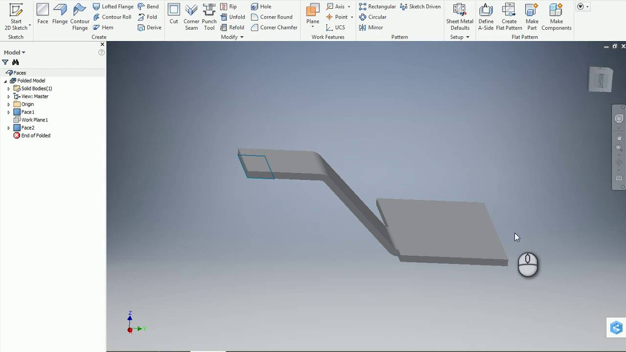 Inventor Sheet Metal Double Bend Option 45 Degree 1 Youtube