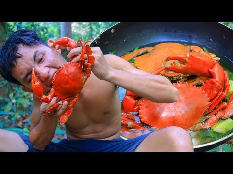 Amazing Big Crab Recipe - Catch and Cook Big Crab Recipe In Forest For Dinner