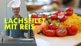 Gesundes Fitness Mittagessen | Lachs mit Reis und Gemüse | Tim Gabel