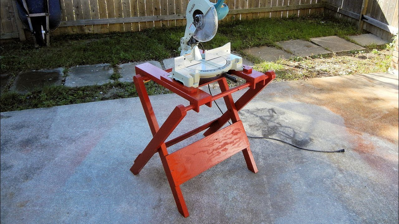 Homemade Folding Miter Saw Stand Youtube