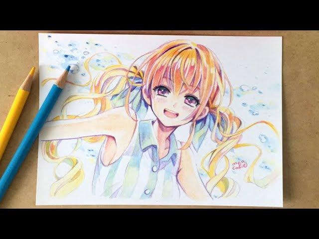 24色セットの色鉛筆で夏っぽい女の子を塗ってみた Byもじゃクッキー Youtube