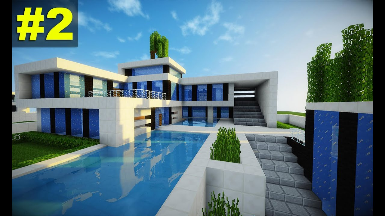 Minecraft tutorial casa super moderna parte 2 youtube for Como aser una casa moderna y grande en minecraft