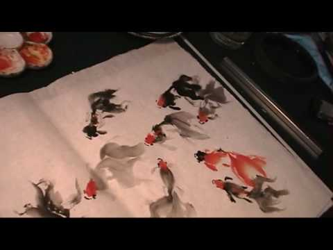 Nine Goldfish in Free Style Chinese Painting by Henry Li