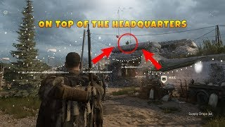 HOW TO GET ON TOP OF THE HEADQUARTERS IN COD WW2!! WORKING *17-12-2017* (OMG!!) (TUTORIAL)