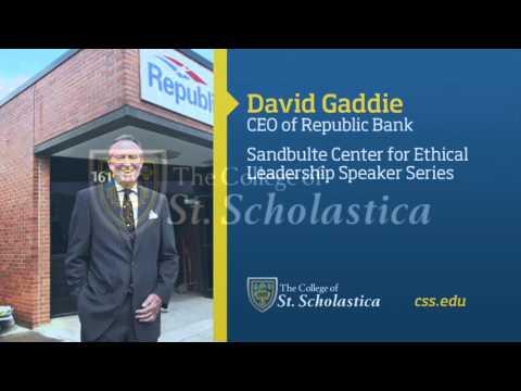 Sandbulte Center for Ethical Leadership Speaker Series: David Gaddie