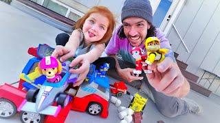 Paw Patrol HIDE N SEEK! New Toys help Adley find Hidden Chocolate in our Backyard! READY RACE RESCUE