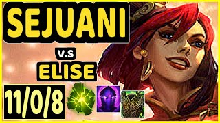 WARDEN (SEJUANI) vs ELISE - 11/0/8 KDA JUNGLE GAMEPLAY - EUW Ranked GRANDMASTER