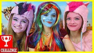 MY LITTLE PONY FACE PAINT CHALLENGE! With Jacy and Kacy! Rainbow Dash Pinkie Pie vs Twilight Sparkle