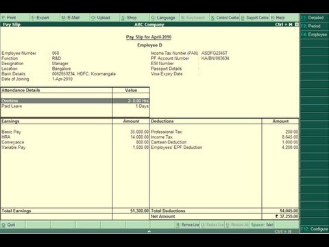 How to Create Payslip in TallyERP 9 - YouTube