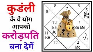 कुडंली के ये योग आपको करोड़पति बना देगें ! Jyotish shastra ! Janam kundali ! Astrology in hindi